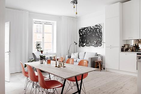 Amerikaans design in een scandinavisch appartement woon